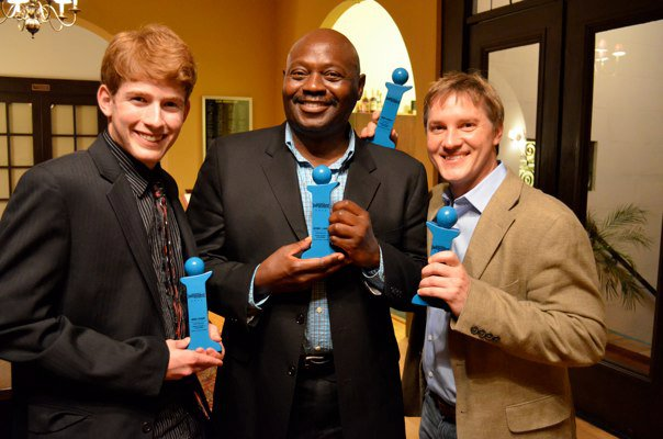 Daniel Stewart, Anthony Haney and Brian McDonald with thier Indy Awards for Master Harold and The Boys at the Rubicon Theatre Co.